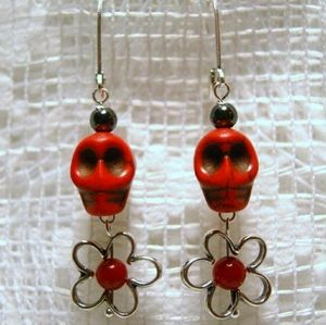 Jewelry - Red Howlite Skulls with Hematite Silver Earrings